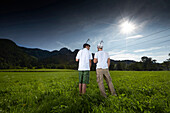 Urban golf players on a meadow, Wendelstein, Upper Bavaria, Germany