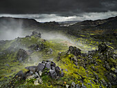 Vapour rising, Volcanic landscape with moss and stone, Landmannalaugar, Island