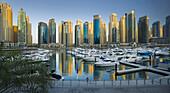 Yachts in the harbour at Dubai Marina, Skyscrapers , Dubai, Unites Arab Emirates, UAE