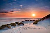 Sunset over the sea, Amrum Island, North Frisian Islands, Schleswig-Holstein, Germany