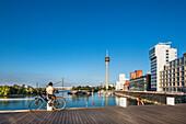 Modern buildings and television tower, Neuer Zollhof, Media harbour, Duesseldorf, North Rhine Westphalia, Germany
