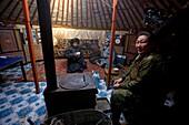Inside a Mongolian nomad yurt, Mongolia