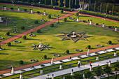 An aerial photo of the Bahai Gardens in Akko