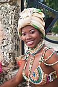 Dominican Republic, La Romana, Altos de Chavon, Dominican female dancer in costume, R, MR-DRE-09-06