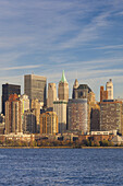 USA, New York, New York City, lower Manhattan skyline from Jersey City, late afternoon.