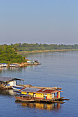 South America Brazil,Amazonas state,Manaus,Amazon river basin,Tapaua,Floating houses,part of the town at the junction pf the Purus river and the Ipixuna river.