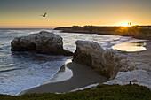 Sunset at Natural Bridges State Beach, Santa Cruz, California.
