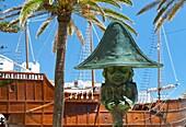 Enano de la Virgen sculpture and Naval Museum (aka Barco de la Virgen) in background, Plaza de la Alameda, Santa Cruz de la Palma, La Palma, Canary Islands, Spain