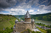 Bacharach, castle, Strahleck, Germany, Rhineland_Palatinate, town, city, castle, vineyard, river, flow, Rhine, clouds