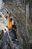 Ice climbing, sport, pick, picks, cliff, man, Sigmund Thun gorge, climb, sport, Alps, climbing technology, ice, cape run, Austria