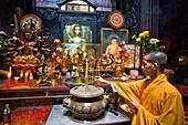 Saigon, Ho Chi Minh town, city, Vietnam, Asia, Chua Phuoc shark, pagoda, religion, monk, altar, pictures, joss sticks, travel, place of interest, landmark