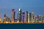 Qatar, UAE, United Arab Emirates, architecture, block of flats, high_rise building, Doha, skyline, blocks of flats, high_rise buildings, buildings, constructions, Corniche, sea, water, traveling, place of interest, landmark