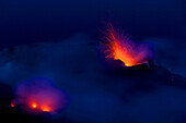 Stromboli, Italy, Europe, Lipari Islands, island, isle, volcano, crater, volcano eruption, eruption, lava, glowing, heat, daybreak, smoke