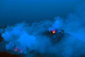 Stromboli, Italy, Europe, Lipari Islands, island, isle, volcano, crater, volcano eruption, eruption, lava, glowing, heat, daybreak, smoke, sea