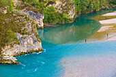 Tagliamento, Italy, Europe, Friuli_Venezia Giulia, river, flow, natural river run, gravel bed, fisherman, rock, cliff,