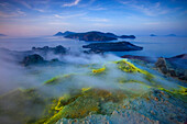 Vulcano, Italy, Europe, Lipari Islands, island, isle, volcano, crater, fumarole, sulphur, sulfur, deposition, steam, vapor, evening mood, sea, Mediterranean Sea