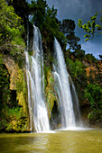 Sillans_la Cascade, France, Europe, Provence, Var, river, flow, waterfall, rock, cliff, tuff rock, clouds, trees