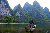 Li River, China, Asia, river, flow, fisherman, boat, bamboo boat, birds, cormorants, mountains, karst, karst landscape, wood, forest,