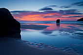 Sango Bay, Great Britain, Scotland, Europe, sea, coast, beach, seashore, rock, cliff, daybreak, mood, clouds, tides, low, ebb, tide