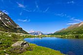 Halsesee, lake, Switzerland, Europe, canton Valais, nature reserve valley of Binn, lake, sea, mountains, rocks, cliffs,