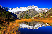 Alps, Alpine panorama, view, panorama, mountains, mountain massif, mountain panorama, mountain lake, peak, Dammastock, cliff, rock, mountains, body of water, summit, peak, glacier, Göscheneralp, autumn, high_level moor, scenery, moor, silence, Switzerland