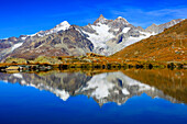 Alps, Alpine panorama, view, mountains, mountain panorama, mountain lake, peak, Dent blanche, cliff, rock, mountains, summit, peak, autumn, scenery, Mattertal, nature, Obergabelhorn, silence, Switzerland, Swiss Alps, lake, reflection, stones, Valais, land