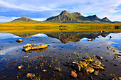 Evening, evening mood, Ben Loyal, mountains, mountains, bodies of water, summits, peaks, Great Britain, Highland, highlands, scenery, hole, Lochan Hakel, nature, silence, Scotland, Scottish highlands, lake, sea, summer, reflection, stones, silence, calmne