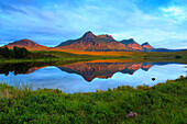 Evening, evening mood, Ben Loyal, mountain, mountains, mountains, bodies of water, summits, peaks, glowing, Highland, highlands,