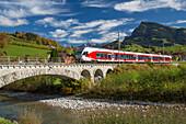 Toggenburg, SOB, Neu St. Johann, Thur, Alpstein, Säntis, mountain, mountains, autumn, SG, canton St. Gallen, Alpstein, Säntis, railway, train, railroad, bridge, Switzerland, Europe,