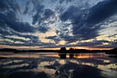 Sweden, Europe, smaland, markaryd, lake, storsjö, island, isle, summer, sundown, sunset, clouds
