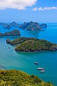 Ko Wua Talap, one of the islands in the Angthong National Marine Park 42 limestone islands near Koh Samui island, Gulf of Thailand, Thailand