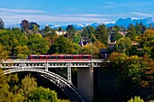 The Kirchenfeldbrucke bridge over the Aare River, Bern, Canton Bern, Switzerland