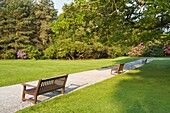 Park benches in the quiet surroundings of Muckross House and Gardens, County Kerry, Ireland, Europe