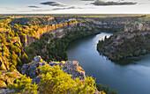 River and gorge near San Frutos hermitage. Hoces del Rio Duraton Natural Park. Segovia, Castile and Leon, Spain, Europe.