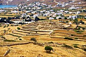 Skarkos hill prehistoric settlement ruins  European Union Cultural Heritage archaeological site of Skarkos