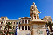 Statue of Andreas Miaoulis, celebrated admiral of the Greek War of Independence, and the Neo Classic City Hall of Ermoupolis, Miaoulis Square, Syros  S  , Greek Cyclades Islands