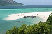 The famous white strip of sand, part of sunrise beach,on Ko Lipe,Thailand