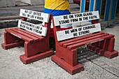 Public bench seats with religious messages, St Johns town centre, Antigua, West Indies