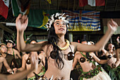 Atiu Island. Cook Island. Polynesia. South Pacific Ocean. Children dressed in traditional Polynesian dances and interpret Polynesian dances organized at Hotel Villas Atiu Atiu island. The Cook Islands lie northeast of New Zealand in the South Pacific Ocea