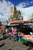 Germany, Muenster, Westphalia, Muensterland, North Rhine-Westphalia, weekly market on the Cathedral Square, booths, Saint Paul Cathedral, catholic church