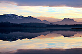 Reflection of Chiemgau Alps with Hochries in Lake Simssee, Upper avaria, Germany