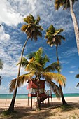 Puerto Rico, East Coast, Luquillo, Playa Luquillo Beach, life guard tower.