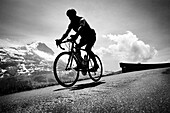 Cyclist on mountain pass, Eiger in the background, descent from Bussalp, Bernese Oberland, Switzerland
