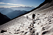 Two people hiking on a snowfield, ascend to Habicht (3277 m), Stubai Alps, Tyrol, Austria