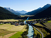 View on river Inn, La Punt-Chamues-ch, Upper Engadine, Grisons, Switzerland