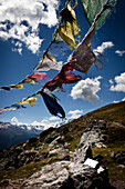 Prayer flags, Monte die Glorenza (2395 m), Vinschgau, South Tyrol, Italy