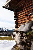 Wooden alpine hut, descent from Unnutz Mountain (2078 m), Rofan Mountains, Tyrol, Austria