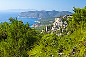 Seascape from Monolithos Castle, Rhodes, Dodecanese islands, Greece, Europe