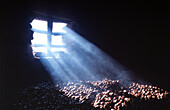 Window, chestnuts, Marroni, cellar, grid, incidence of light, Ticino, Switzerland, camp, warehouse,