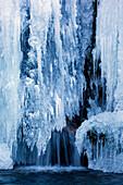 Rossfall, Switzerland, Europe, canton Appenzell, Ausserrhoden, Bach, Urnasch, waterfall, winter, ice, icicle
